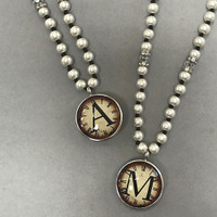 Long Pearl Necklace with Vintage Watch Print Initial Necklace