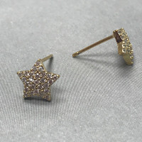 Cubic Zirconia Pave Star Post Earrings