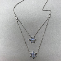 Turquoise Opal Cubic Zirconia Double Layered Star Necklace