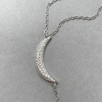 Pave Cubic Zirconia Moon/Star 'åÏY'å Necklace