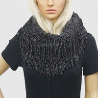 Lurex Knit Infinity Scarves With Fringes