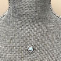 Larimar and Cubic Zirconia Starburst Necklace