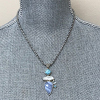 Blue Lace Agate and Amazonite Pendant