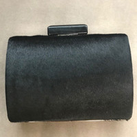 åÊSondra Roberts Modern Black Calf Hair Clutch