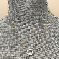 Pave Cubic Zirconia Disk Circle Necklace