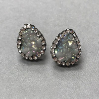 Gray Iridescent Pear Shaped Druzy Post Earrings