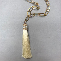 Large Links with Cream Tassel Long Necklace