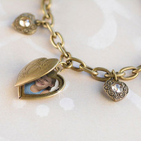 Vintage Heart Locket Charm Bracelet