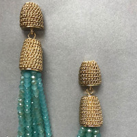 Mint Alabaster Beads & Gold Tassel Earring