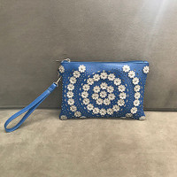 Sondra Roberts Perforated Wristlet with Sparkly Flowers