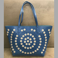 Sondra Roberts Perforated Tote with Sparkly Flowers
