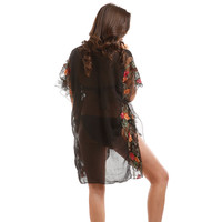 Floral Embroidered Cover up / Kimono