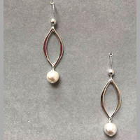 Sterling Silver Petal with Crystal Earring