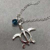 Sterling Silver Sea Turtle and Crystal Charm Necklace