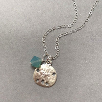 Sterling Silver Beach Charm and Crystal Necklace