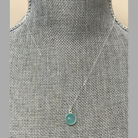 Aqua Chalcedony Bezel Set Necklace