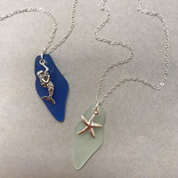 Marine Charm and Sea Glass Necklace