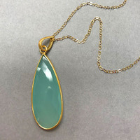 Seafoam Chalcedony Tear Drop Necklace