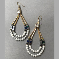 Sacagawea Beaded Teardrop &Gem Dangle