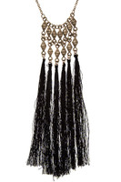 Multi-Tassel Brush Diamond Linked Tassel Necklace