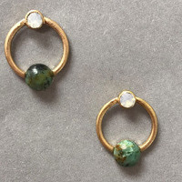 Double Cabochon Stone Hoops