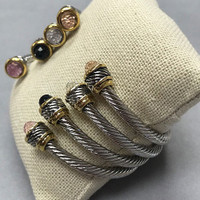 Twisted Steel Open Cuff With Faceted Crystals