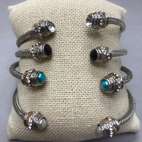 Twisted Steel Open Cuff with Small Cabochon or Crystal