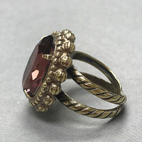 Sorrelli Faceted Mahogany Oval Crystal Ring