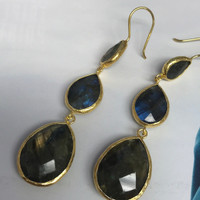 Genuine Labradorite Faceted Teardrop Dangles In Gold Vermeil