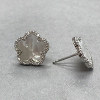 Mother-of-Pearl Flower and Cubic Zirconia Post Earring