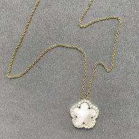 Mother-of-Pearl Flower with Cubic Zirconia Necklace