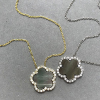 Gray Pearl Flower with Cubic Zirconia Necklace