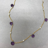 Amethyst & 14K Gold Vermeil Teardrop Necklace