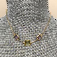 Square Amethyst and Citrine Necklace