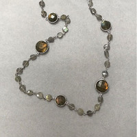 Raw and Polished Labradorite Chain
