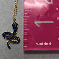 Sapphire Blue Cubic Zirconia Snake Necklace