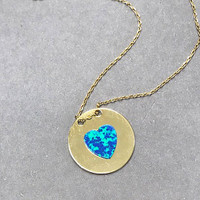 Blue Opal Heart On Gold Disk