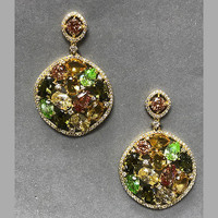 Autumn Neutrals Crystal Round Dangle Earrings