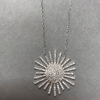 Brilliant Cubic Zirconia Sunburst Necklace