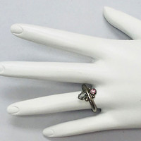 Sorrelli Dainty Gray & Pink Crystal Ring