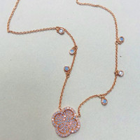 Blue Opal With Rose Gold Clover Necklace