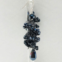 Hematite Crystal and Crochet Cyclone Earring