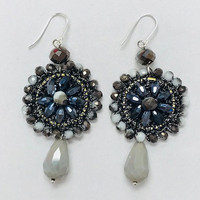 Speckled Agate and Hematite Crocheted Medallion Earring