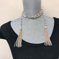 Long Beach House Crystal Tassel Lariat Necklace
