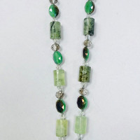Chrysoprase and Chalcedony Crystal Necklace with Silk Tassel