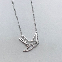 Silver Peace Sparrow Necklace