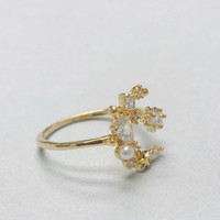 Crystal with Pearl Mystical Moon/Star Ring