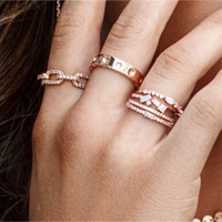 Dainty Cubic Zirconia with Baguette Ring Gold
