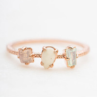 Dainty Three Stone Pastel Ring Rose Gold