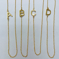 "Almost 1/2"" Sideways Initial Necklaces Gold over Stainless or Stainless Steel"